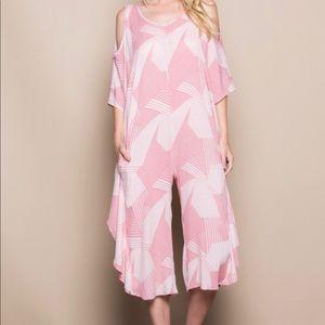 Cold Shoulder Pink Printed Mumu Jumpsuit